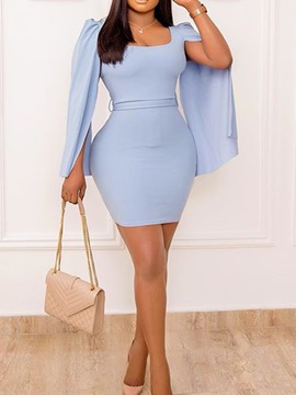 Ericdress Long Sleeve Above Knee Square Neck Pullover Sexy Dress