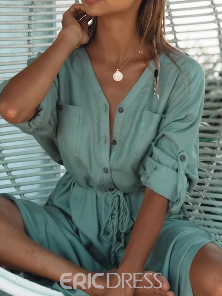 Ericdress Plain Single-Breasted Lace-Up Women's Beach Tops