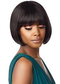 Ericdress Short Bob Hairstyle Women's Straight Human Hair Capless Wigs With Bangs 10Inch
