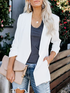 Ericdress Notched Lapel Long Sleeve Plain Standard Regular Casual Women's Blazer
