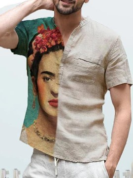 Ericdress Floral Casual Pocket Men's Slim Summer Shirt