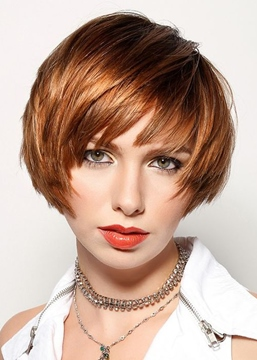 Ericdress Women's Short Bob Straight Human Hair Capless Wigs With Bangs 10Inch