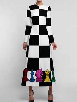 Ericdress Ankle-Length Patchwork Round Neck Pullover Women's Dress