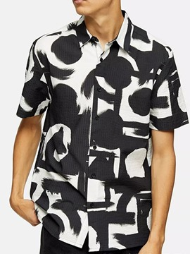 Ericdress Lapel Casual Print Loose Men's Summer Shirt