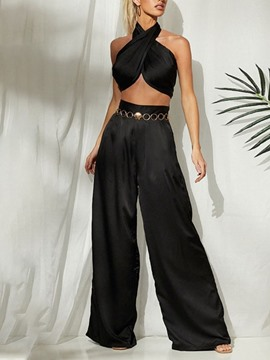 Ericdress Pants Plain Western Wide Legs Women's Two Piece Sets