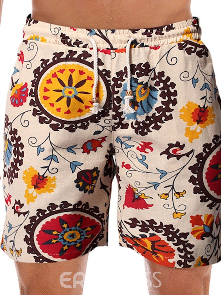 Ericdress Print Floral Straight Lace-Up Mid Waist Men's Shorts