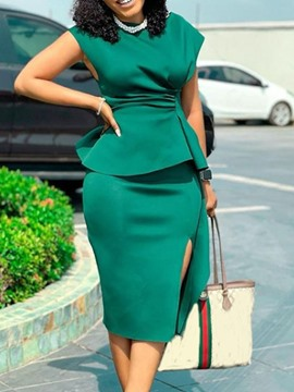 Ericdress Short Sleeve Mid-Calf Split High Waist Office Lady Women's Dress