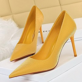 Ericdress Pointed Toe Slip-On Stiletto Heel Plain Thin Shoes