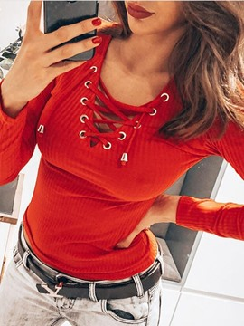 Ericdress Regular Lace-Up Round Neck Long Sleeve Women's Sweater