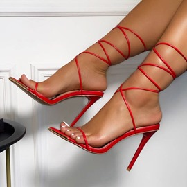 Ericdress Lace-Up Stiletto Heel Open Toe Plain Sandals