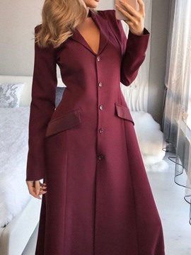 Ericdress Button Long Sleeve Floor-Length Regular Single-Breasted Women's Dress