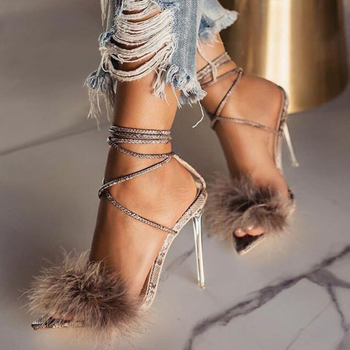 Ericdress Open Toe Lace-Up Stiletto Heel Professional Sandals