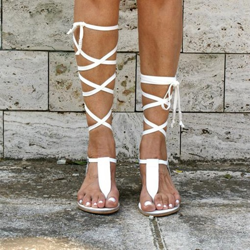 Ericdress Flat With Lace-Up Thong Plain Sandals