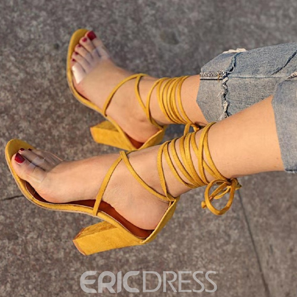 Ericdress Chunky Heel Open Toe Lace-Up Plain Sandals