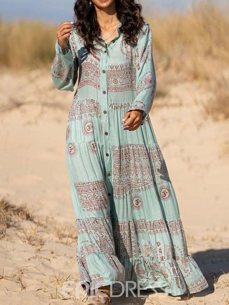 Ericdress Print Long Sleeve Floor-Length Travel Look A-Line Women's Dress