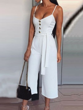 Ericdress Lace-Up Ankle Length Fashion Women's Slim High Waist Jumpsuit