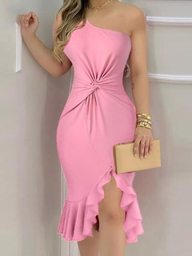 Ericdress Sleeveless Asymmetric Oblique Collar Fashion Women's Dress