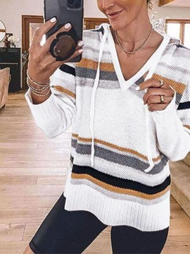 Ericdress Regular Patchwork Thin Hooded Standard Women's Sweater