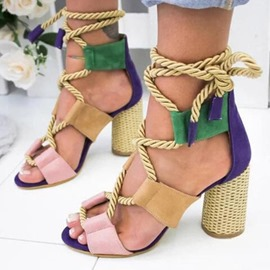 Ericdress Chunky Heel Lace-Up Open Toe Color Block Sandals
