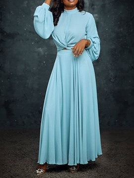 Ericdress Stand Collar Floor-Length Long Sleeve Western High Waist Dress