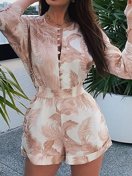 Ericdress Shorts Plant Print High Waist Loose Women's Jumpsuit