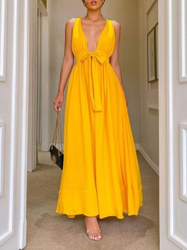 Ericdress Floor-Length Sleeveless V-Neck Pullover Summer Dress
