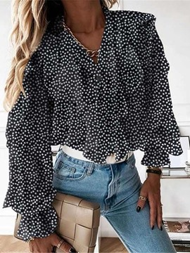 Ericdress Print Polka Dots V-Neck Long Sleeve Standard Women's Blouse