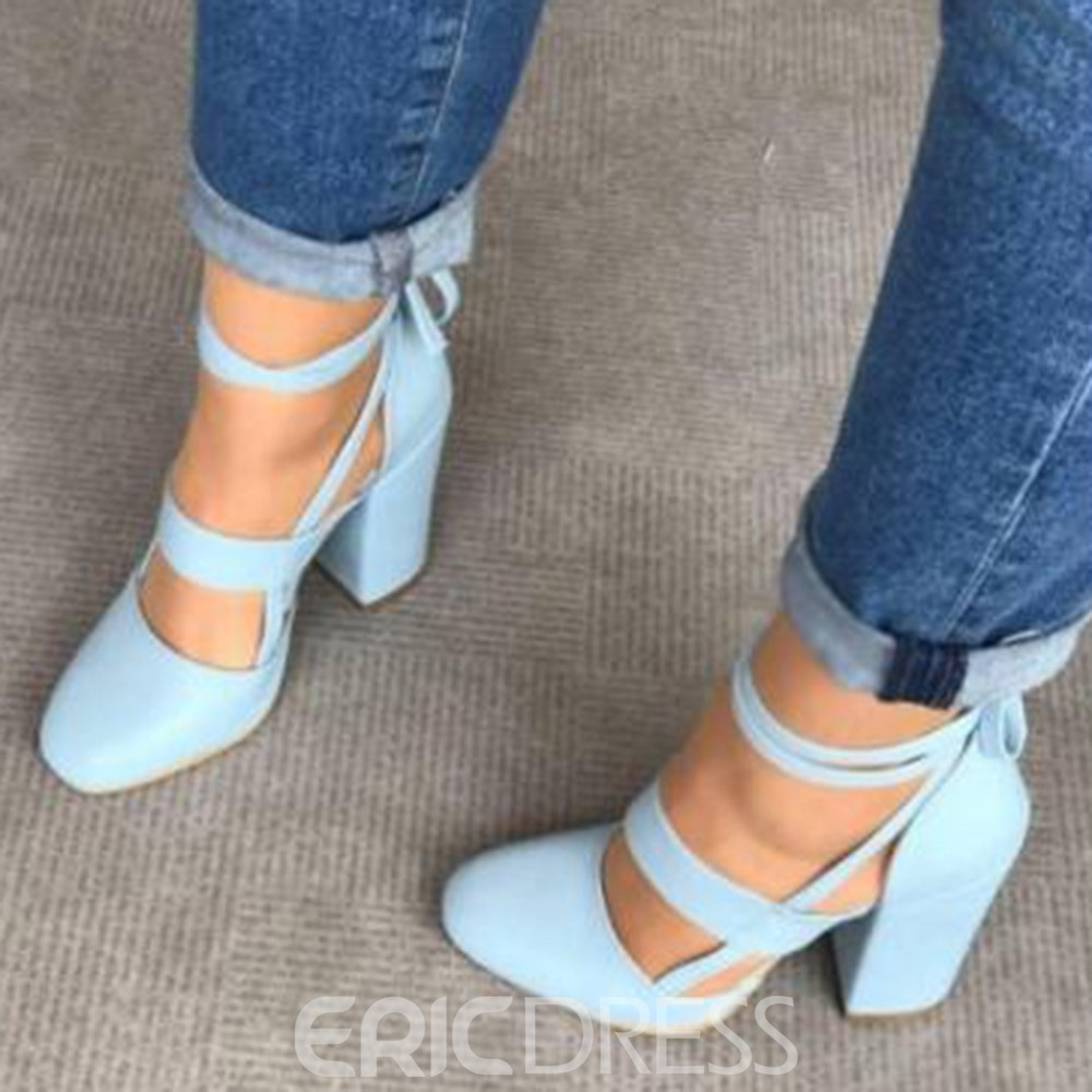 Ericdress Lace-Up Round Toe Cross Strap High Heel (5-8cm) Thin Shoes