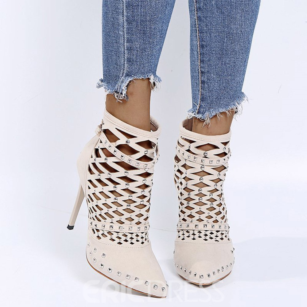 Ericdress Plain Back Zip Pointed Toe Professional Boots
