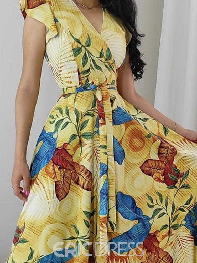 Ericdress Print Short Sleeve Floor-Length Floral Summer Dress