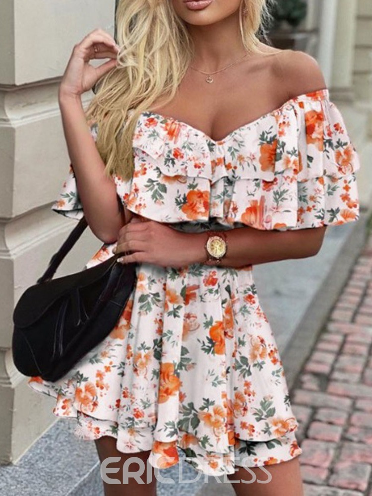 Ericdress V-Neck Above Knee Half Sleeve Fall Floral Women's Dress