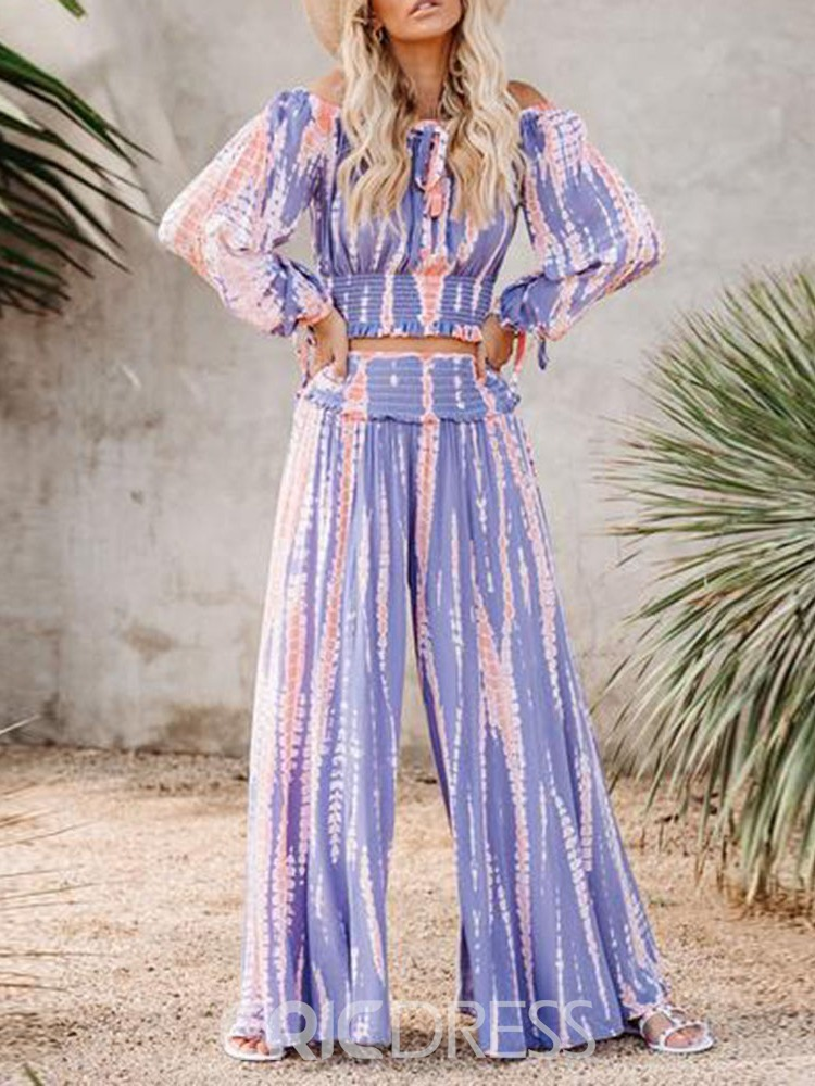 Ericdress Travel Look Stripe Stringy Selvedge Culottes Off Shoulder Women's Two Piece Sets