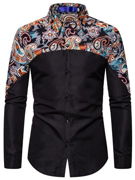 Ericdress Print Floral Casual Men's Single-Breasted Shirt