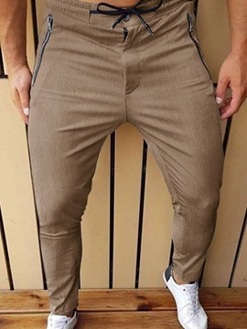 Ericdress Zipper Pencil Pants Mid Waist Men's Casual Pants