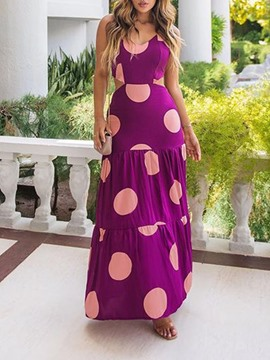 Ericdress Print Floor-Length Sleeveless A-Line Spaghetti Strap Women's Dress