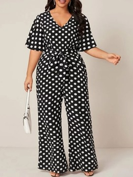 Ericdress Polka Dots Western Print Women's Slim Straight Jumpsuit
