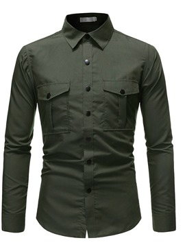 Ericdress Casual Plain Lapel Men's Slim Fall Shirt