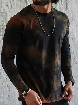 Ericdress Round Neck Casual Tie-Dye Men's Slim Long Sleeve T-shirt