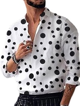 Ericdress Casual Print Polka Dots Single-Breasted Loose Men's Shirt