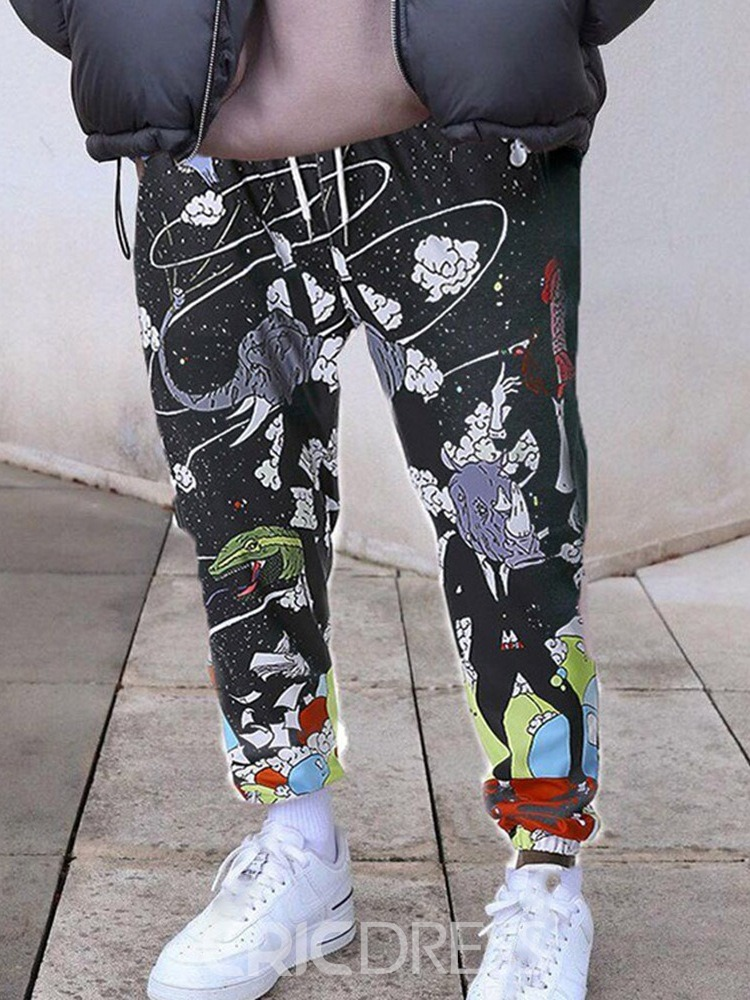 Ericdress Print Pencil Pants Lace-Up Spring Men's Casual Pants