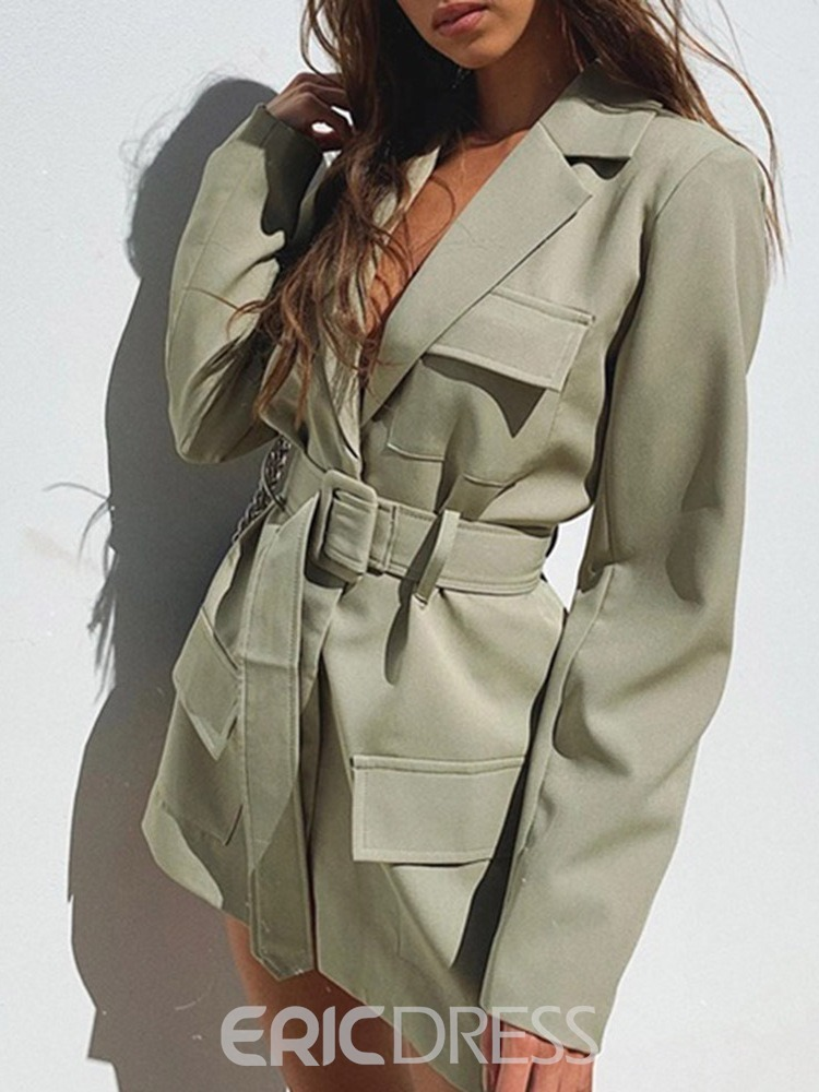Ericdress Lace-Up Long Sleeve Notched Lapel Mid-Length Regular Women's Casual Blazer