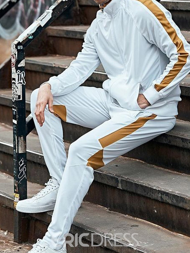 Ericdress Sports Color Block Hoodie Fall Men's Outfit