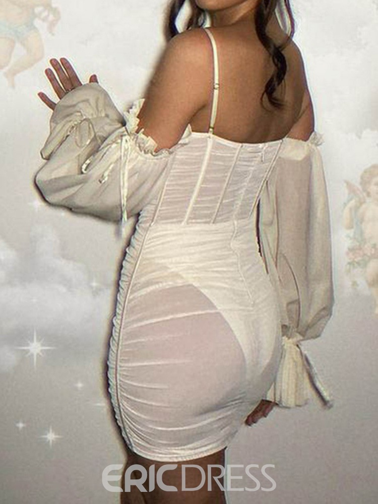 Ericdress Above Knee See-Through Long Sleeve Sexy Women's Bodycon Dress