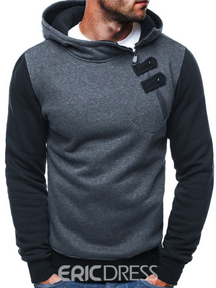 Ericdress Patchwork Pullover Color Block Men's Slim Pullover Hoodies