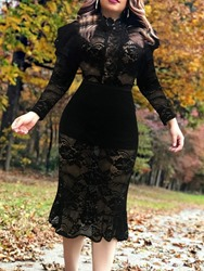Ericdress Mid-Calf Long Sleeve Lace Bodycon Pullover Womens Dress