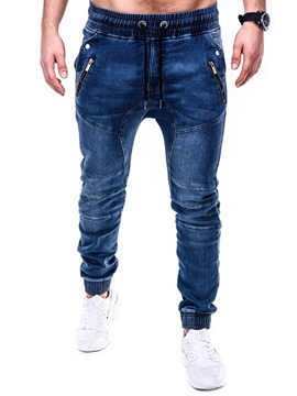 Ericdress Plain Pencil Pants Zipper Casual Mid Waist Men's Jeans