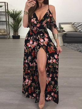 Ericdress Split V-Neck Floor-Length Fashion A-Line Women's Dress