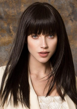 Ericdress Natural Looking Women's Straight Human Hair With Bangs Capless Wigs 24Inch
