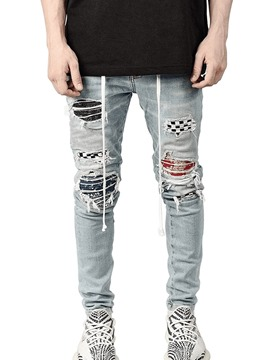 Ericdress Pencil Pants Color Block Worn Mid Waist Hip Hop Jeans
