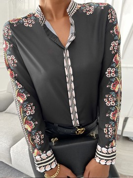 Ericdress Regular Stand Collar Floral Long Sleeve Standard Women's Blouse